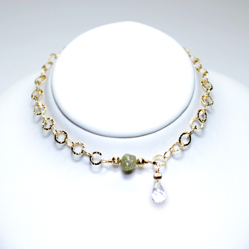 画像1: シルバーダイヤモンド&水晶・チェーンブレスレット