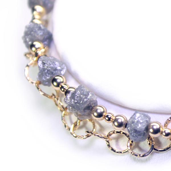 画像1: シルバーダイヤモンド原石・ブレスレット